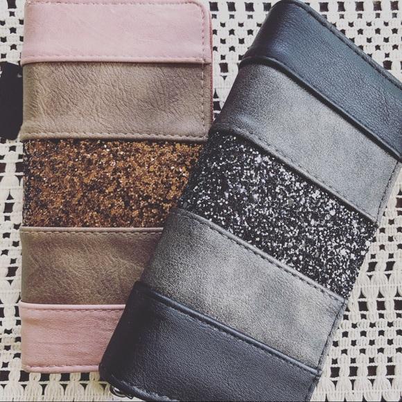 Handbags - Blush or Black Glitter Zippered Wallet